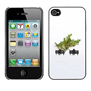 Soft Silicone Rubber Case Hard Cover Protective Accessory Compatible with Apple iPhone? 4 & 4S - minimalist tree love couple