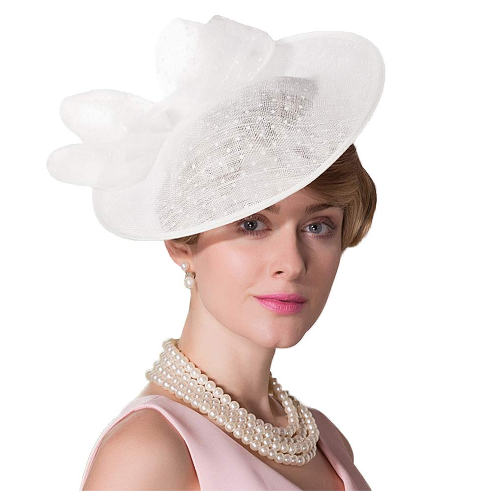 F FADVES Women Vintage Sinamay Fascinator Elegant Royal Wedding Derby Cocktail Tea Party Hat Beige White
