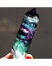 Cristal de cuarzo hexagonal natural, de Ularma, fluorita de curación, piedra preciosa de color verde o púrpura