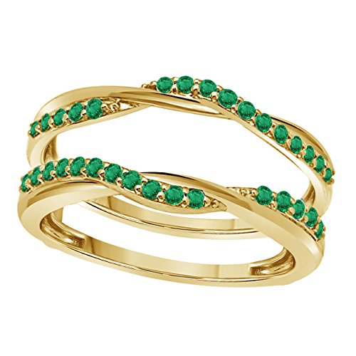 Gems and Jewels 14K Yellow Gold Plated Criss Cross Infinity Ring Guard Enhancer set with CZ Green Emerald 1/2 Ct