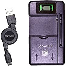 Emergency Replacement Battery Charger with LCD Display for Home, Office or Travel + Retractable MicroUSB Data/Charging Cable for ZTE Majesty Z796C ZTE796 796C 796 Savvy Z750C, Awe N800, Reef N810