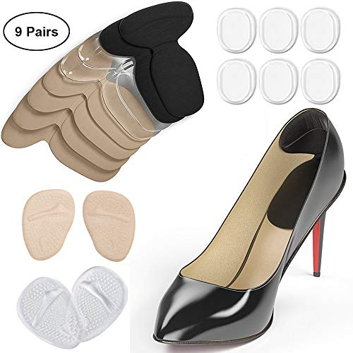 (Heel Cushion Pads for Women and Men 9 Pairs Comfortable Suede Reusable Shoe Inserts Self Adhesive Foot Care Protector Grips Liners Heel Pain Relief Bunion Callus Blisters )