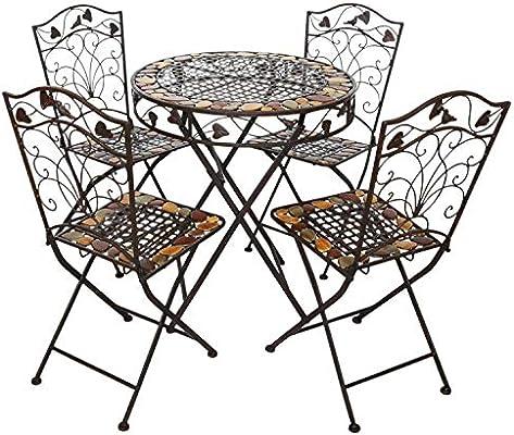 aubaho Mesa y 4 sillas de Hierro Forjado de Hierro Muebles de jardín de Piedra marrón: Amazon.es: Jardín