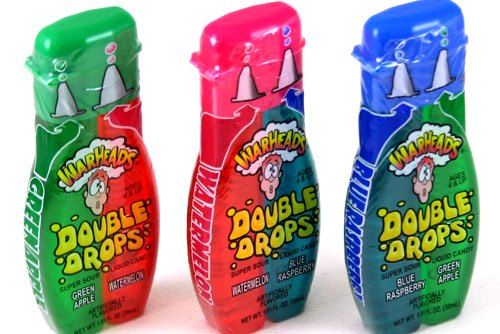 Warheads Super Sour Double Drops Liquid Candy 1.01 Fluid Ounce Bottles (Pack of 12) by Impact Confections