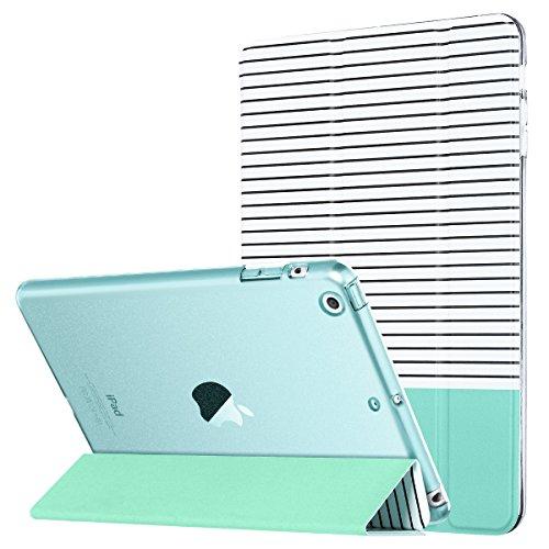 ULAK iPad Mini Case for iPad Mini 3/2 / 1, Slim Lightweight Smart Case Trifold Cover Stand for iPad Apple Mini, Mini 2, Mini 3, Clear Back Cover with Auto Sleep/Wake Function, Minimal Stripe Mint