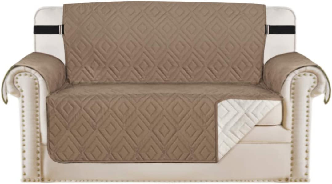 "Reversible Loveseat Cover Furniture Protector Anti-Slip Water Resistant 2 Inch Wide Elastic Straps Couch Covers Pets Kids Fit Sitting Width Up to 46""(Love Seat, Taupe/Beige)"