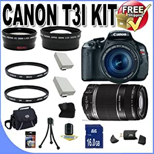 Canon EOS Rebel T3i 18 MP CMOS Digital SLR Camera and DIGIC 4 Imaging with EF-S 18-55mm f/3.5-5.6 IS Lens & Canon 55-250IS Lens + 58mm 2x Telephoto lens + 58mm Wide Angle Lens (4 Lens Kit!!!) W/16GB SDHC Memory+ 2 Extra Batteries + 2 UV Filters + Case + Accessory Kit!!