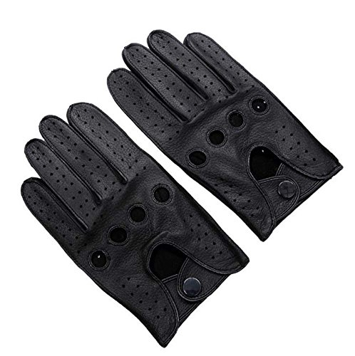 Men's Driving Leather Gloves Soft Deerskin Full-finger Gloves Classic Motorcycle Cycling Riding Unlined Gloves S-xl ( Color : Black , Size : L )