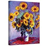 Art Wall Sunflowers by Claude Monet Gallery Wrapped Canvas, 18 by 24-Inch