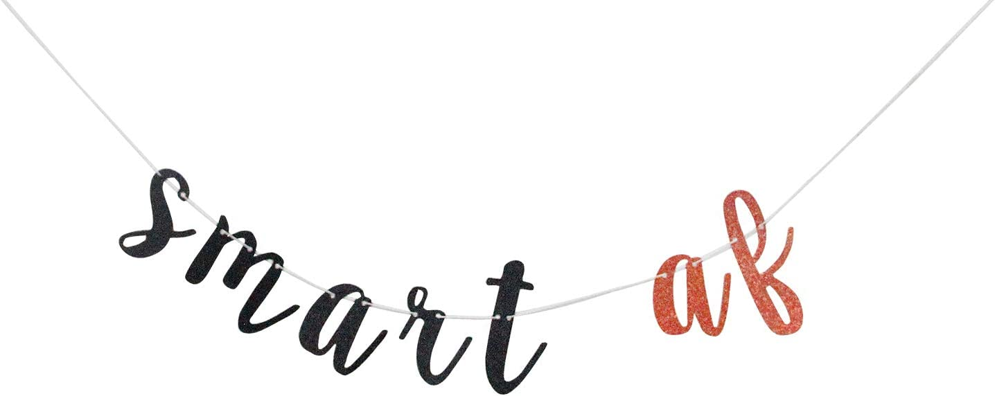 Glitter Smart AF Banner - Graduation Party Supplies Sign 2021 -Congrats Grad Party Decorations, Graduation Cap Tassel Book Decor, Class of 2021(Rose Gold and Black).
