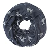 Lina & Lily Poodle Dog Print Women's Infinity Scarf Lightweight (Grey&White-L)