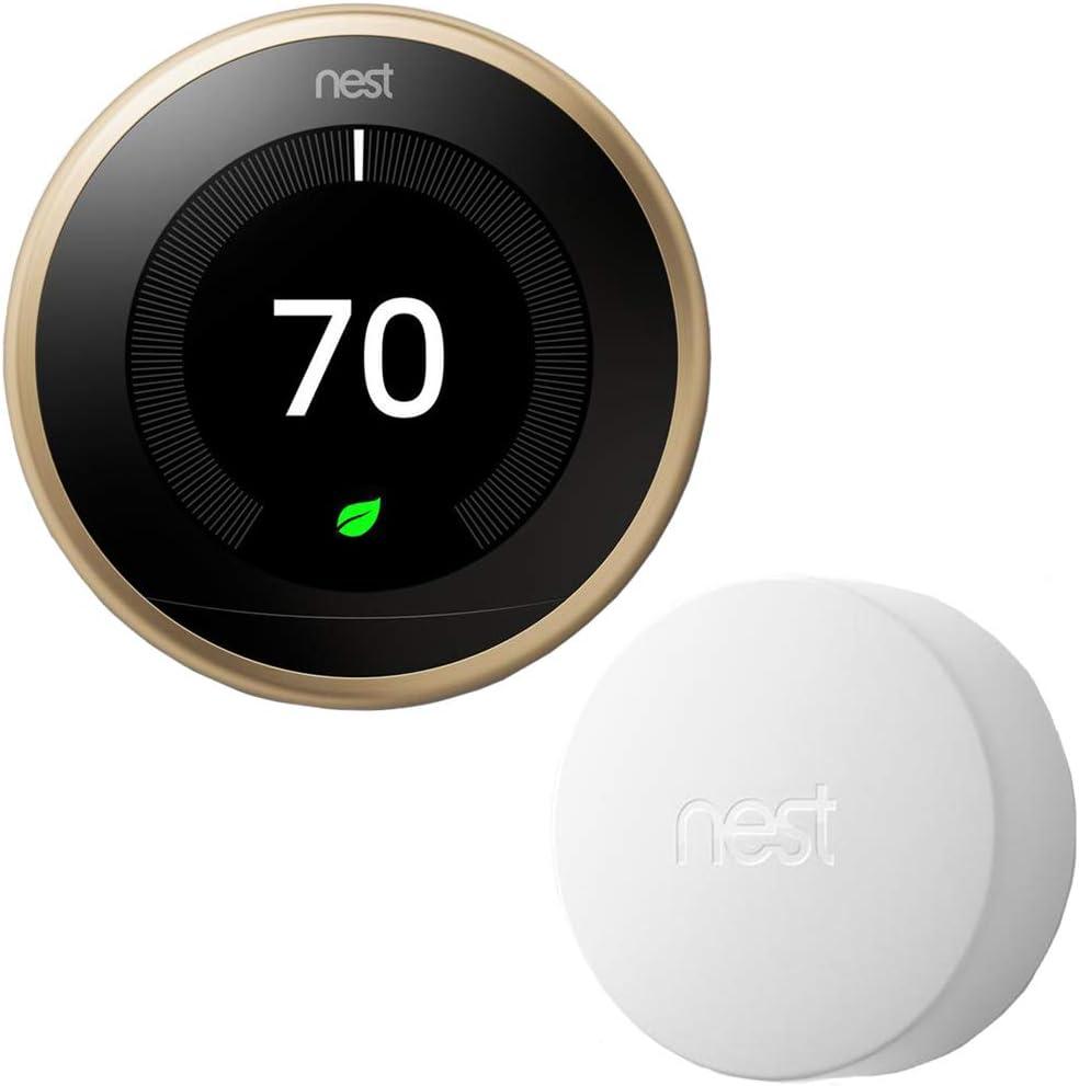 Google Nest T3032US Learning Thermostat 3rd Gen Smart Thermostat, Brass Bundle Temperature Sensor