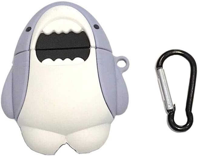 ICI-Rencontrer 3D Vivid Distinctive Big Mouth Grey White Whale Animals Design Airpods Case Kids Girls Women Cute Wireless Charging Earphone Soft Silicone Shockproof Protector Hook