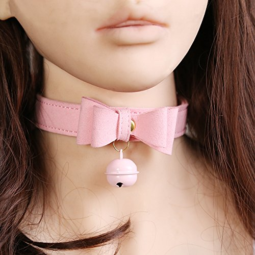MyCHIC PU Leather Bow Tie Neck Choker Collar Necklace with Bell for Women Girls (Pink) by MyCHIC