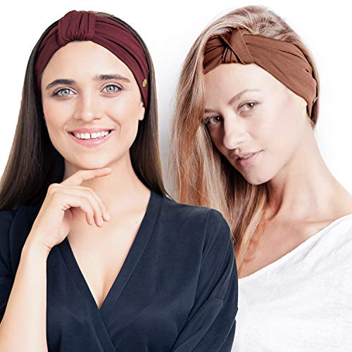 BLOM Original Headband Two Pack. Women's Headbands Perfect for Yoga Fashion Workout Sports Gym Athletic Exercise. Wide Sweat Wicking & Stretchy. (Maroon + Nutmeg)