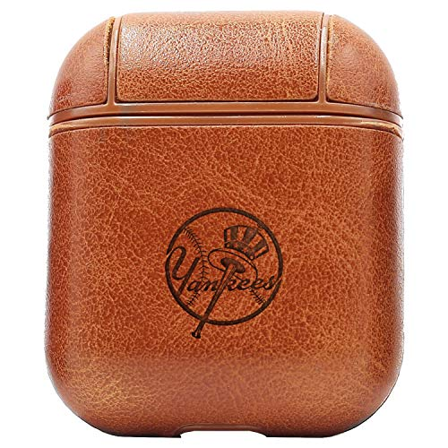 MLB New York Yankees Logo 2 (Vintage Brown) Engraved Air Pods Protective Leather Case Cover - a New Class of Luxury to Your AirPods - Premium PU Leather and Handmade exquisitely by Master Craftsmen