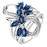 Katie's Style Infinity Cubic Zirconia Flower Royal Blue CZ Women Fashion Cocktail Statement Ring Size 7