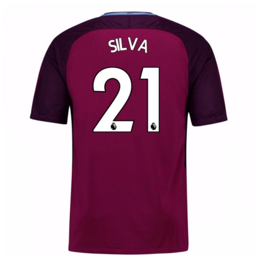 2017-18 Man City Away Football Soccer T-Shirt Trikot (David Silva 21) - Kids