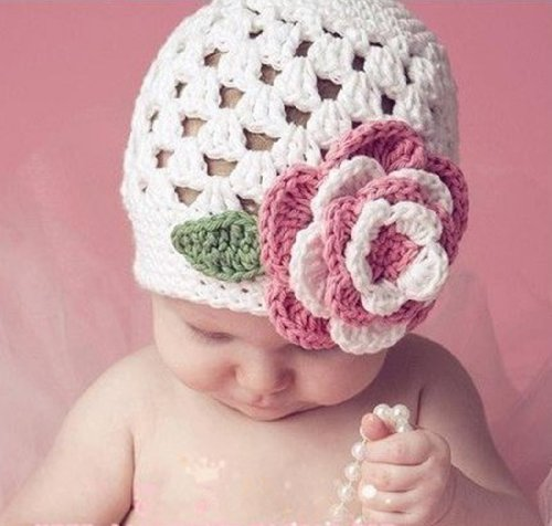 Baby Girl Knit Hat Winter Handmade Flower Prop Beanie (White)