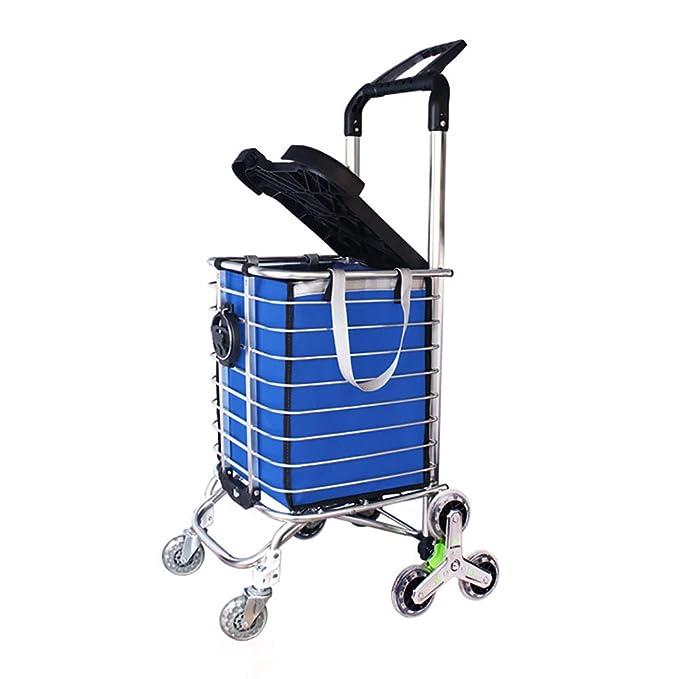 Escaleras Plegables Escaleras Carretones para Compras de comestibles Carros con Ruedas giratorias de 8 Ruedas y portaequipajes con Tapa, 35L (Color : Azul): ...