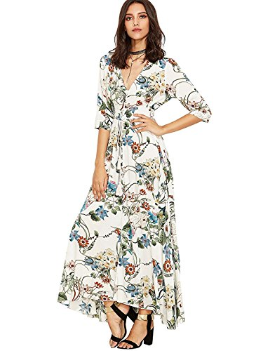 Milumia Women's Button Up Split Floral Print Flowy Party Maxi Dress X-Large White_Blue