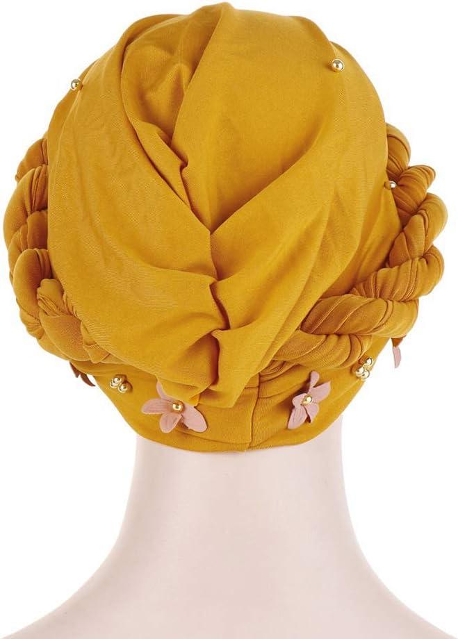 MoreChioce Turban Chapeau avec Perles,Bonnet Cheveux Bandana Chimio pour Femmes Musulman Stretch Casquette