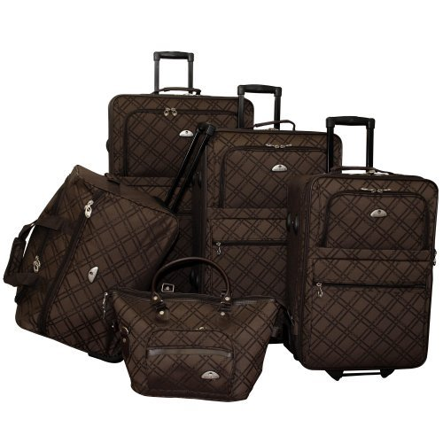 American Flyer Luggage Pemberly Buckles 5 Piece Set, Chocolate, One Size