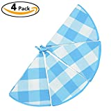 VEEYOO Dish Towels Round 22 Inch Dia. 100% Cotton, Set of 4 Oversized Kitchen Tea Towels, Plaids Pattern in Blue