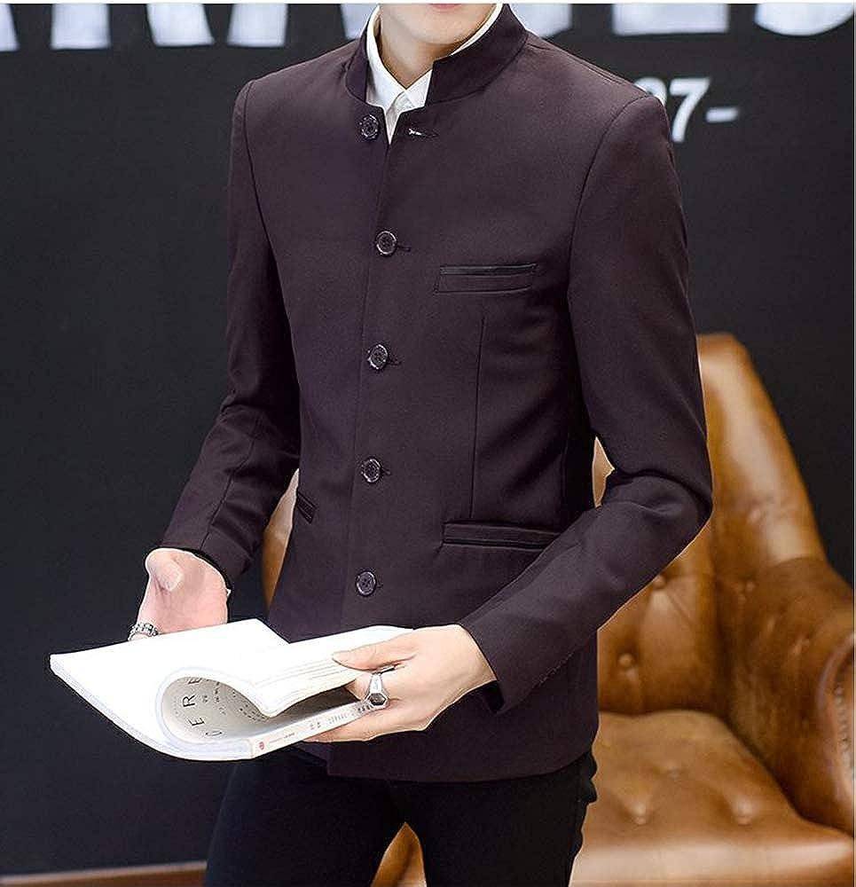 keepmore Chinesische Tunika M/änner Grandad Kragen Slim Fit Blazer Casual B/üro Hochzeit Host Blazer Anzug