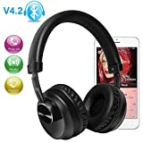 Wireless Gaming Headset, WEILIANTE V4.2 Bluetooth On-Ear Noise Cancelling Headphones with Microphone for PC/ PS4/Xbox One/Smartphones Computers Black