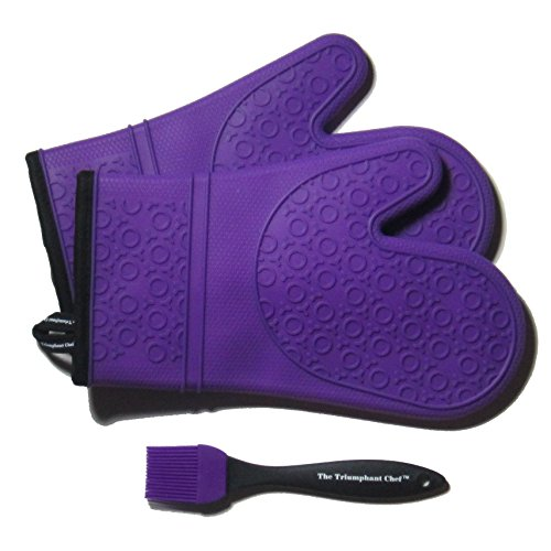 Super Flex Silicone Oven Mitt, Deluxe Quilted Liner, 1 Pair, Royal Purple, Bonus Sauce Brush