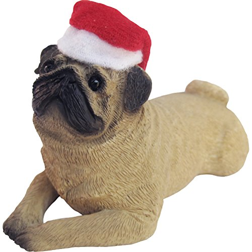 Sandicast Fawn Pug with Santa Hat Christmas Ornament (Figurines Sale Carolers Christmas)