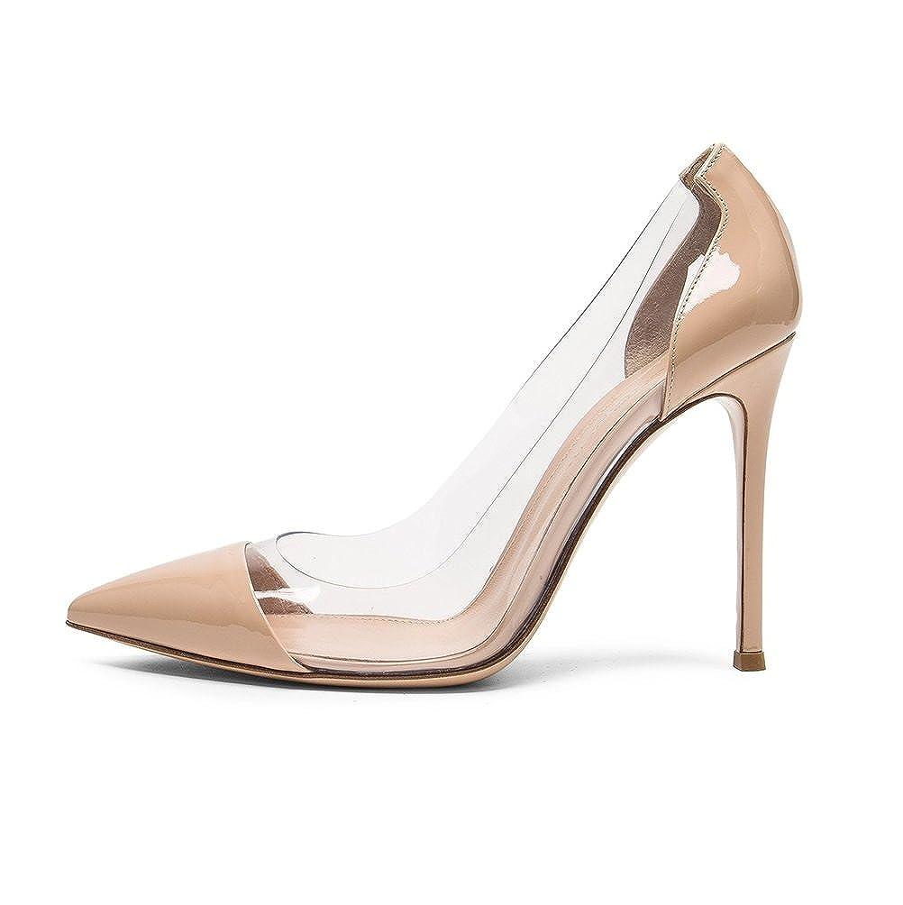 181baadcdd Amazon.com   Sammitop Women's Pointed Toe Pumps High Heel Cap-Toe Dress  Shoes Stiletto Transparent Shoes   Pumps