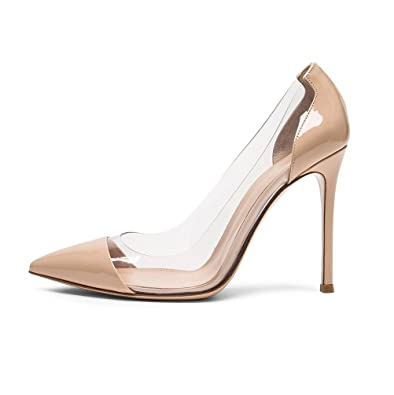 Sammitop Women s Pointed Toe Pumps High Heel Cap-Toe Dress Shoes Stiletto  Transparent Shoes Beige