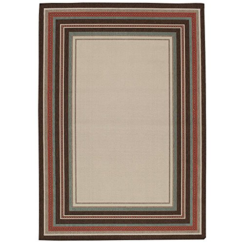 Amazon Com Hampton Bay Border Ivory And Brown 5 Ft 3 In X 7 Ft 4