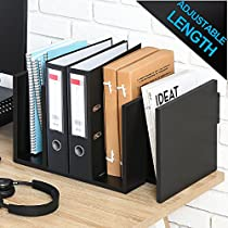 FITUEYES Adjustable Natural Wood Desk Bookshelf Organiser for Office Home Expandable Tidy Desktop Storage Organizer Display Shelf Rack
