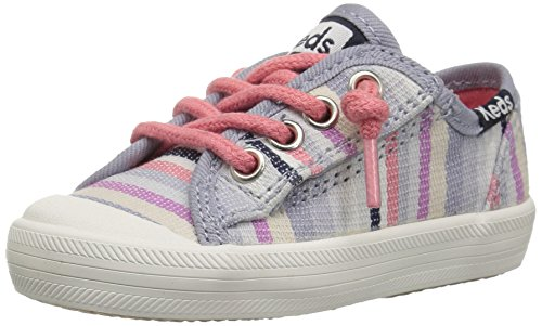 Keds Girls' Kickstart Seasonal Toe Cap Jr. Sneaker, Relaxed Multi Stripe, 5 M US Toddler