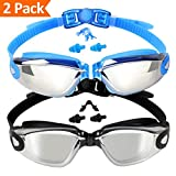 EVERSPORT Swim Goggles 2 Pack, Swimming Goggles Swim Glasses Anti Fog UV Protection for Adult Men Women Youth Kids Child, Shatter-Proof, Watertight …