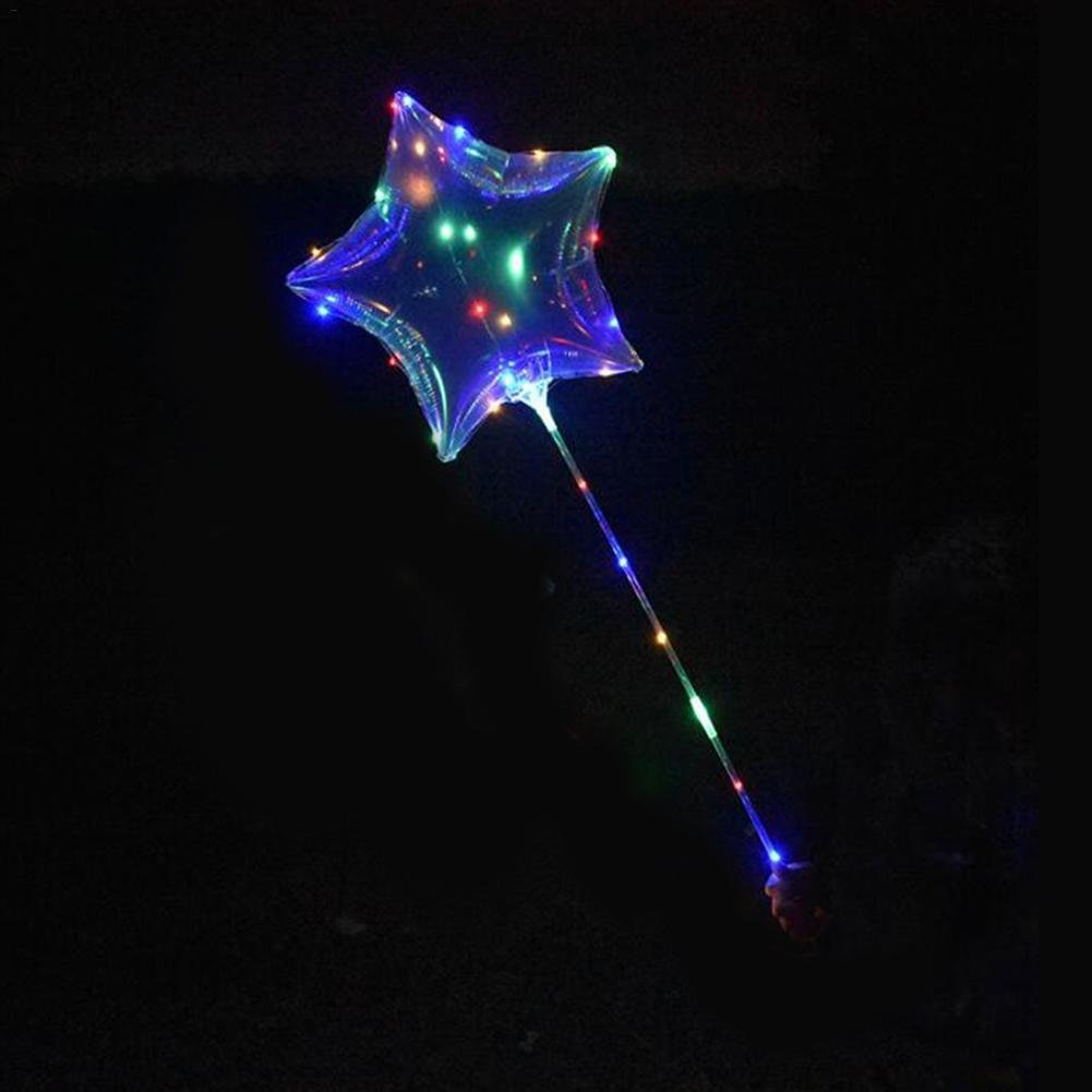Laideyilan 18-inch LED Bobo Balloons Five-Pointed Star Transparent Handle Flashing Light LED Lamp Creative Balloon for Birthday Wedding Christmas Party Decorative