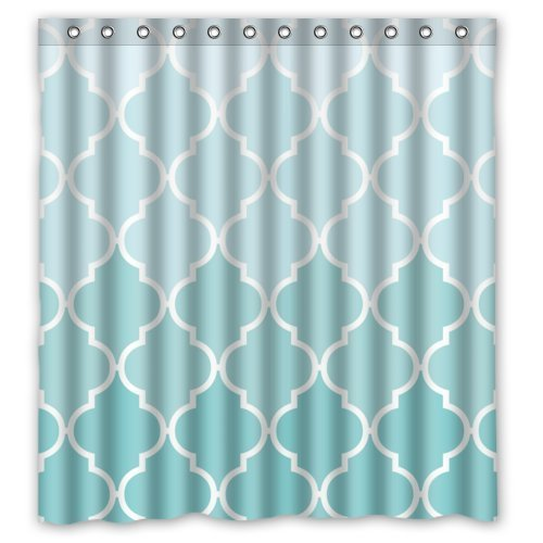 HomeFamily Quatrefoil Ombre Blue And White Lattice Waterproof Bathroom Shower Curtain With Rings 66