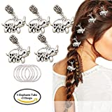 dread loc headband - RechicGu Pack 5 Elephant OM Rasta Mambo Bead Dreadlocks Dread Loc Braid Hair Dress Clip Pin with 5 Hoops