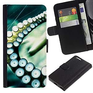 Billetera de Cuero Caso del tirón Titular de la tarjeta Carcasa Funda del zurriago para Apple Iphone 6 PLUS 5.5 / Business Style Octopus Squid Sea Tentacle