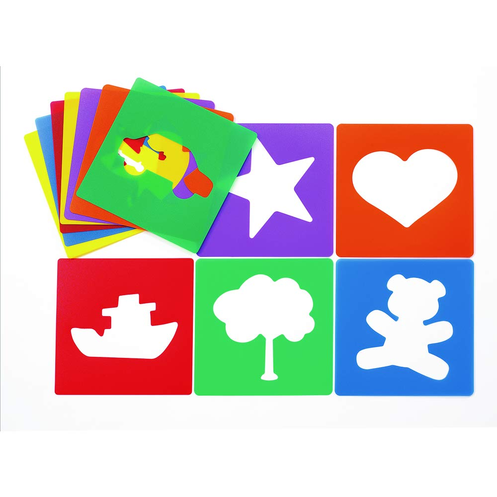 amazon com colorations familiar shapes stencils for kids 8 inches jumbo sturdy quality washable paint draw spray classroom arts crafts teacher educational item esten industrial scientific colorations familiar shapes stencils for kids 8 inches jumbo sturdy quality washable paint draw spray classroom arts crafts teacher