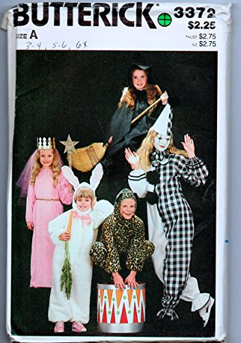 Butterick 3372 Clown Princess Witch Rabbit Cat Halloween Costume Sewing Pattern Size A Child Size 3-4, 5-6, 6x -