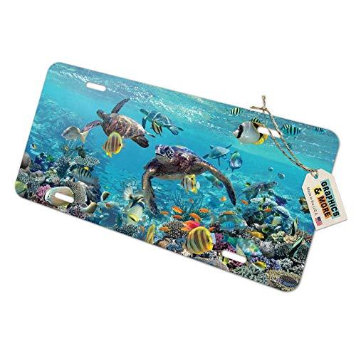 (Graphics and More Ocean Coral Reef Sea Turtles Diving Novelty Metal Vanity Tag License Plate)