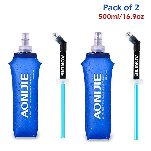 YYTA Foldable Sports BPA PVC Free Soft Running Water Kettle Soft Hiking Flask Hydration Bottle (500ml)