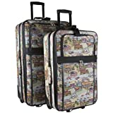 World Traveler Route 66 Tapestry Two Piece Rolling Luggage Set