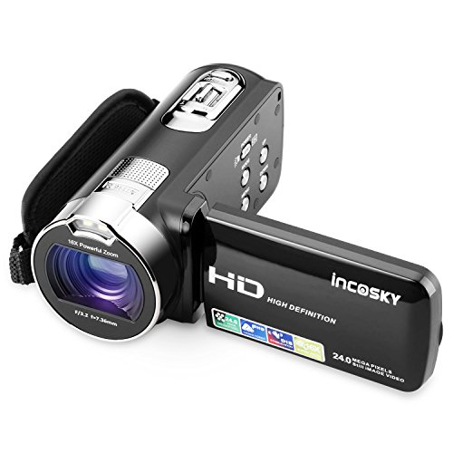 """Video Camera Camcorder, Incosky 1080p 24mp 16x Digital Zoom Camera With 2.7"""" Tft Lcd 270 Degree Rota"""