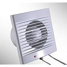 "6"" Inch 110V 18W Wall Mounted Exhaust Fan Bathroom Fan Timer Exhaust Ventilation Fan with Drawstring switch"