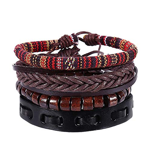 NIHAI 4 Piece Leather Bracelet Jewelry, Hand-Woven Vintage Multi-Layer Bracelet Fashion Clothing Accessories, Best Gift for Women Men Teens Girls